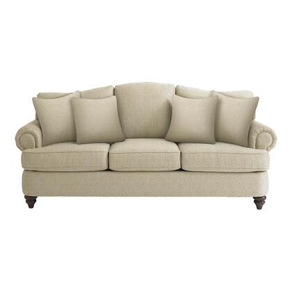"""Bassett Furniture Barclay Collection 3999-6QFC/FC120-x/STD 88"""" Queen Sofa Sleeper with Fabric Upholstery, Rolled Arms, Turned Bun Feet, Piped Stitching and Traditional Style in"""