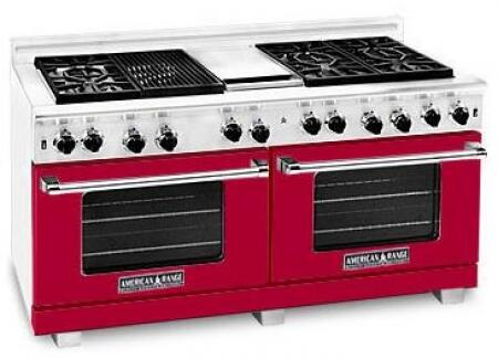 American Range ARR606GDGRLBR Heritage Classic Series Liquid Propane Freestanding Range with Sealed Burner Cooktop, 4.8 cu. ft. Primary Oven Capacity, in Red