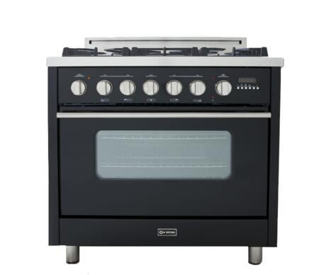 Verona VEFSGEL65ENG  Natural Gas Freestanding Range with Sealed Burner Cooktop, 3.6 cu. ft. Primary Oven Capacity, in Black
