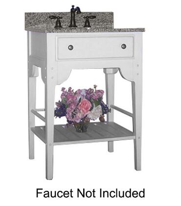 "Kaco Dover Collection 340-2400-W 24"" Single Sink Vanity with Bottom Shelf, Faux Drawer Front and Cottage White Sherwin Williams Finish with Granite Top"
