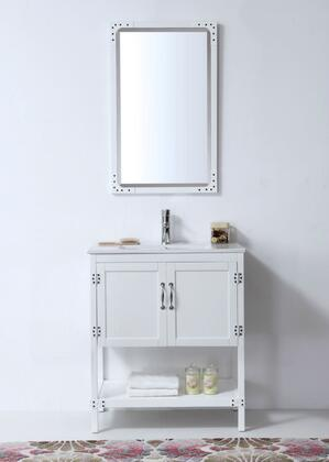 """Legion Furniture WH5930 30"""" White Color Wood Sink Vanity With Ceramic Top-No Faucet"""