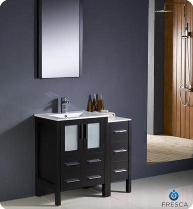 """Fresca Torino Collection FVN62-2412XX-UNS 36"""" Modern Bathroom Vanity with Side Cabinet, 4 Soft Closing Drawers and Integrated Sinks in"""