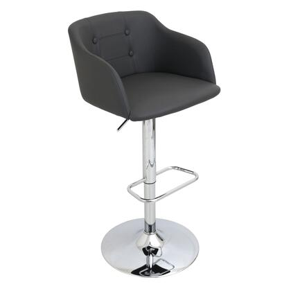 "LumiSource Campania BS-JY-CMP 36"" - 41"" Barstool with 360-Degree Swivel, Fabric Upholstery and Bucket Seat in"