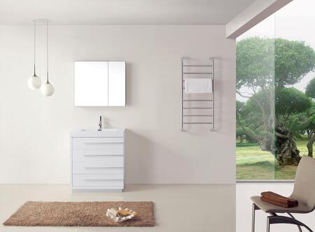 """Virtu USA JS-50530-XX-001 Modern 30"""" Single Sink Bathroom Vanity Set with Brushed Nickel Faucet in"""