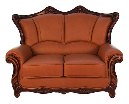 J. Horn 2209BROWNL 2209 Series Leather Stationary with Wood Frame Loveseat
