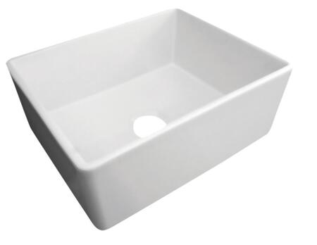 "Alfi AB505 26"" Contemporary Smooth Apron Farmhouse Kitchen Sink with Fireclay, 3 1/2"" Center Drain and cUPC Certified in"