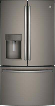 """GE GFE28HxKxS 36"""" Energy Star Rated French Door Refrigerator with 27.8 cu. ft. Total Capacity, TwinChill Evaporators, Advanced Water Filtration, Turbo Cool and Freeze Settings, and Automatic Defrost, in"""