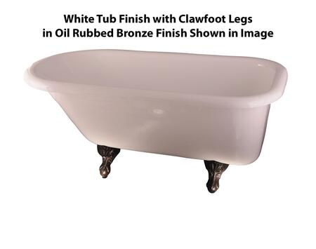 White Tub Finish with Clawfoot Legs in Oil Rubbed Bronze Finish