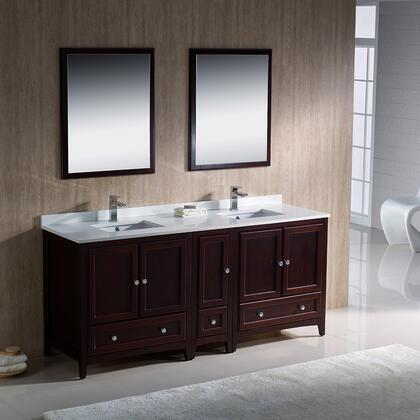 "Fresca Oxford Collection FVN20-301230 72"" Traditional Double Sink Bathroom Vanity with Side Cabinet, 5 Soft Close Doors, 3 Soft Close Dovetail Drawers and Tapered Legs in"