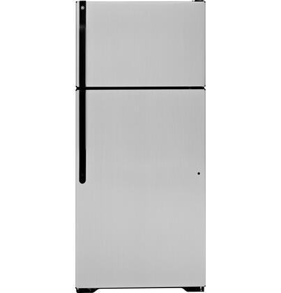 GE GTK17JCDBS Freestanding Top Freezer Refrigerator with 16.5 cu. ft. Total Capacity 2 Glass Shelves 4.07 cu. ft. Freezer Capacity