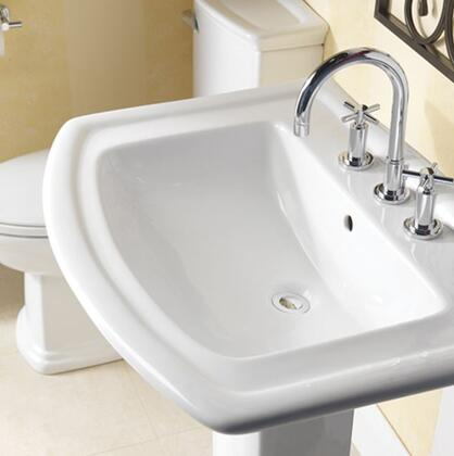 """Barclay B/3-49WH Washington 765 Basin Only, with Pre-drilled Faucet Holes, Overflow, 8.5"""" Basin Depth, and Vitreous China Construction, in White"""