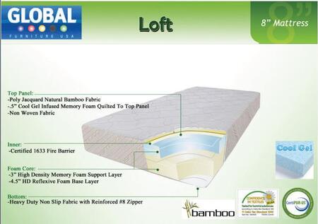 Global Furniture USA B855QMF Loft Series Queen Size Mattress