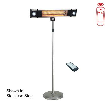 Lava Heat LHI1 Wall Mount and Stand Commercial Electric Patio Heater with 10 Linear Feet Directional Coverage Area, 304 Grade Stainless Steel Construction, Remote Control and Casters, in