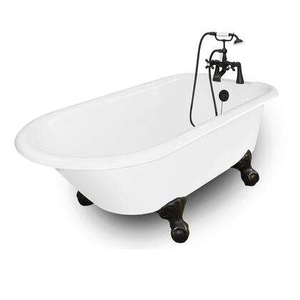 American Bath Factory T140B- Windsor Bathtub with 90 Series Faucet, Hand Shower & Metal Cross Handles, Waste & Overflow Included: