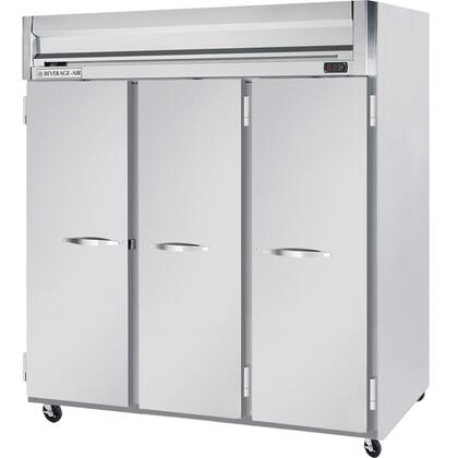 "Beverage-Air HFS3-5 78"" Horizon Series Three Section [Solid Door] Reach-In Freezer, 74 cu.ft. Capacity, Stainless Steel Front, Gray Painted Sides and Stainless Steel Interior"
