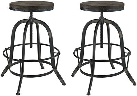 Modway EEI-1603 Collect 2 Piece Dining Stool Set, with Industrial Modern Design, Cast Iron Base, Tubular Foot Ring, Solid Pine Wood Top and 330 lbs. Capacity