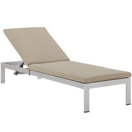 "Modway Shore Collection EEI-2660- 76"" Outdoor Patio Chaise with Anodized Aluminum Frame, Textilene  Mesh and Woven PVC Coated Polyester in"