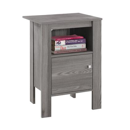 """Monarch I213X 17"""" Night Stand with One Open Shelf and One Door in"""