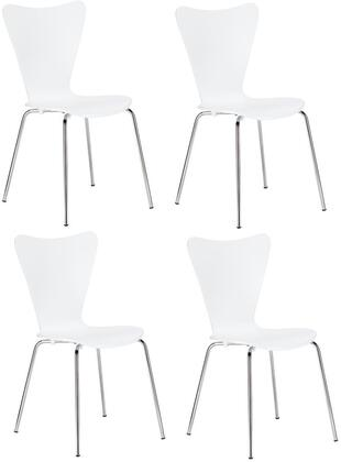 EdgeMod EM183WHIX4 Elgin Series Modern Metal Frame Dining Room Chair