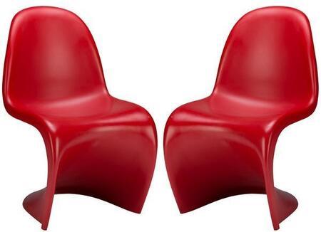EdgeMod EM117REDX2 S Series Armless Plastic Frame Accent Chair