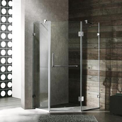 "Vigo VG6062XXCL40 40"" x 40"" Frameless Neo Angle 3/8"" Shower Enclosure:"