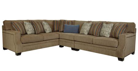 "Broyhill Kayley 3671-XCSS/8853-93 127"" Wide 3-Piece Sectional with X Corner Sofa, Armless Chair and X Arm Loveseat in 8853-93 Grey"