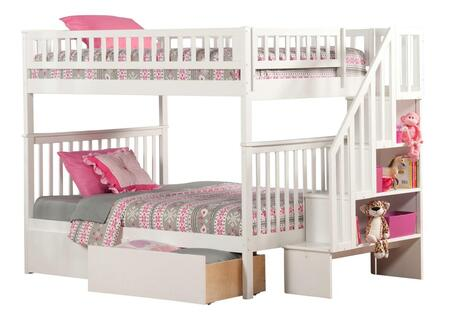 Atlantic Furniture AB5684 Woodland Staircase Bunk Bed Full Over Full With Urban Bed Drawers