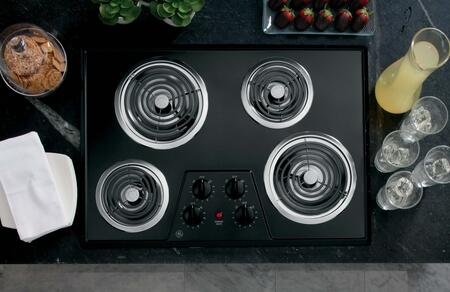 "GE JP328 30"" Electric Cooktop with 4 Coil Heating Elements, Removable Drip Bowls, Upfront Controls and Lift Up Cooktop with Support Rod:"