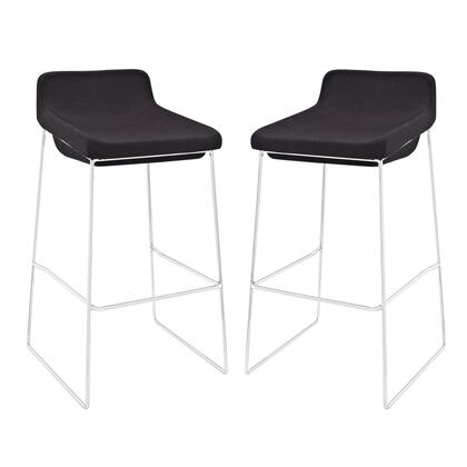 Modway EEI-1364 Garner Bar Stool Set of 2 with Modern Design, Built-in Footrest, Chrome Plated Steel Frame and Foam Seat Upholstered in Fabric