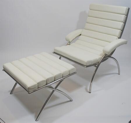 Fine Mod Imports FMI9010WHITE Modern Leather Chaise Lounge