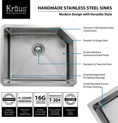 "Kraus KHU1223 Precision Series 23"" Undermount Single-Bowl Kitchen Sink with Stainless Steel Construction, Sound Insulation, and Commercial-Grade Satin Finish"