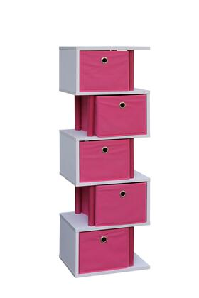 4D Concepts Santa Monica Collection 99X22 Zig Zag Storage with 5 Canvas Drawers and Color Coordinated Decorative Plastic Piping in