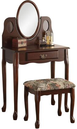"Acme Furniture Aldine 28"" Vanity Set with Vanity, Stool, Mirror, Felt Lined Drawer, Suede Padded Seat Cushion and Red Oak Veneer Materials in Finish"