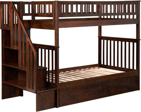 Atlantic Furniture AB5664 Woodland Staircase Bunk Bed Twin Over Twin With Urban Bed Drawers