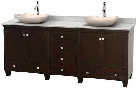 "Wyndham Collection Acclaim 80"" Double Bathroom Vanity with 4 Doors, 6 Drawers, 3"" Backsplash, Brushed Chrome Hardware, White Carrera Marble Countertop and Avalon Ivory Marble Sinks in"