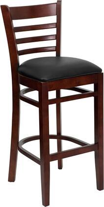 "Flash Furniture HERCULES Series XU-DGW0005BARLAD-MAH-XXV-GG 31"" Heavy Duty Ladder Back Wooden Restaurant Bar Stool with Vinyl Seat, Commercial Design, Foot Rest Rung, and Plastic Floor Glides"