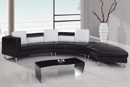 Global Furniture USA 919BLWH1  Leather Sofa