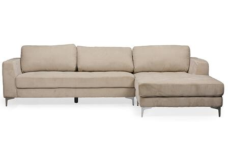 Wholesale Interiors Baxton Studio U9320S Agnew Right Facing Sectional Sofa with Chrome Legs, Bonded Leather Upholstery, Solid Wood and Plywood Frame