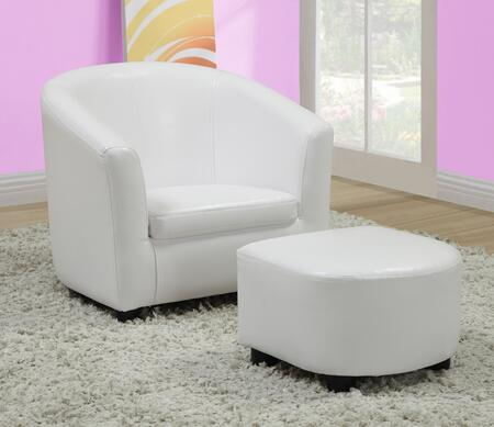 Monarch Juvenile White Chair and Ottoman