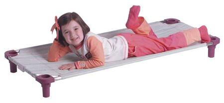 """Mahar 5800T 52"""" Multi-Colored Striped Fabric Unassembled Cot With Color Leg (Standard Size)"""