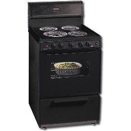 "Premier ECK340B 24"" Electric Freestanding Range with Coil Element Cooktop, 3 cu. ft. Primary Oven Capacity, Storage in Black"