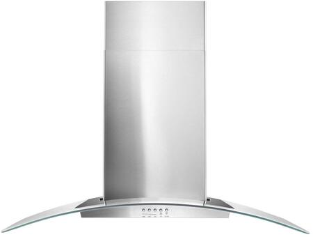 Whirlpool WVW51UCx Concave Glass Wall Mount Chimney Hood With 400 CFM In-Line Blower, Dishwasher-Safe Grease Filter, And LED Lighting, in Stainless Steel