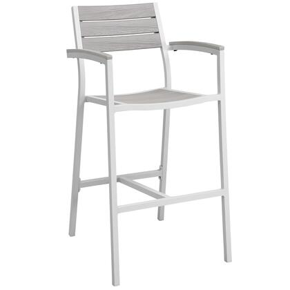 "Modway Maine Collection EEI-1510- 23"" Outdoor Patio Bar Stool with Solid Wood Slats, Powder Coated Aluminum Frame and Plastic Base Glides in"