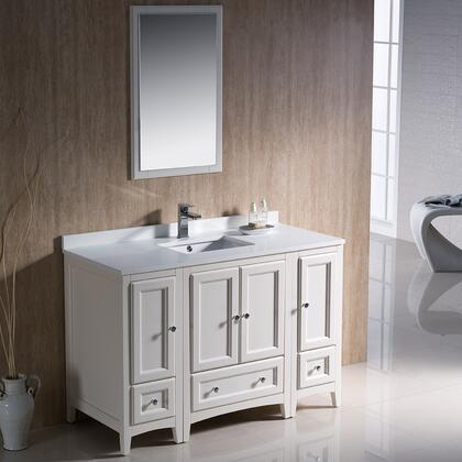 "Fresca Oxford Collection FVN20122412 48"" Traditional Bathroom Vanity with 4 Soft Close Doors, 3 Soft Close Dovetail Drawers and Tapered Legs in"