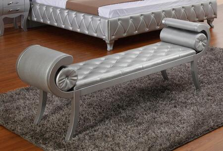VIG Furniture VGKCMONTEBENCHPLATINUM Modrest Monte Carlo Series Accent  Wood Bench