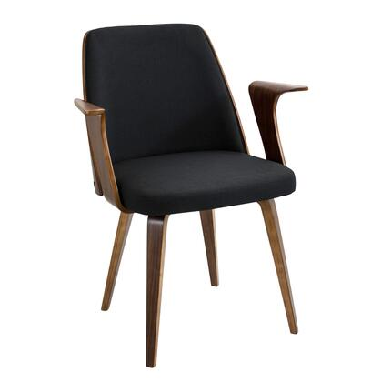 "LumiSource Verdana CH-VRDNA WL 23"" Chair with Fabric Upholstery, Walnut Wood and Tapered Legs in"