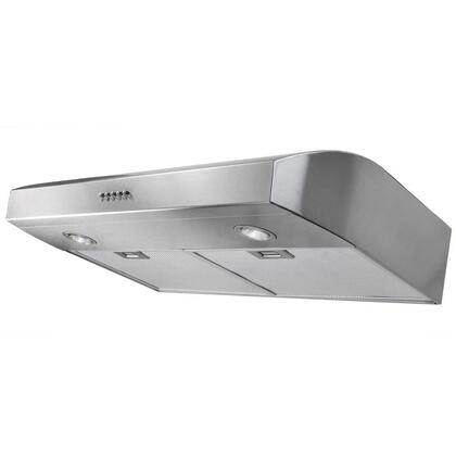 "AKDY AURW130X 30"" Under Cabinet Range Hood with 300 CFM, 65 dB, Centrifugal Motor, Crisp Analog Push Buttons, Halogen Lighting, 3 Fan Speed, Aluminum Grease Filter and Ducted: X"