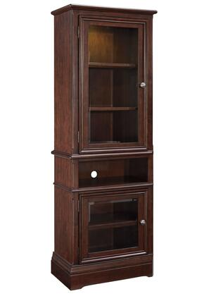 "Signature Design by Ashley Lavidor W809-2P 76"" Tall Pier with 2 Glass Doors, Wire Management and Open Center Shelf in Chocolate Brown Color"