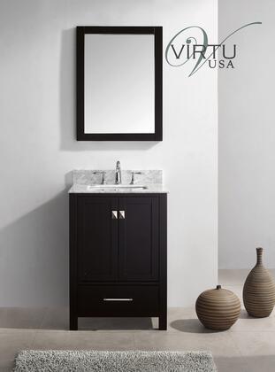 "Virtu USA GS-50024 Virtu USA 24"" Caroline Avenue Single Sink Bathroom Vanity in Espresso with Italian Carrara White Marble"