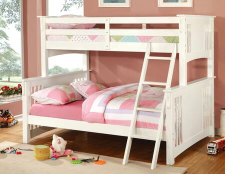 Furniture of America CMBK602FWHBED Spring Creek Series  Twin over Full Size Bunk Bed
